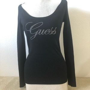 Guess Sweater off the shoulder black rhinestones